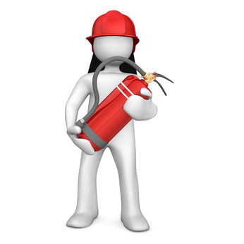 White cartoon character as fireman with extinguisher.
